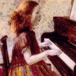 Cây đàn piano màu gụ đỏ